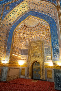 Inside of a blue and gold temple