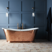 The Hammered Copper Wye Bateau Cast Iron Bath Tub