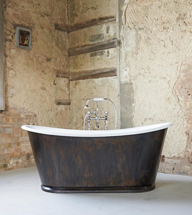 The Burnished Copper Usk cast iron bateau bath tub