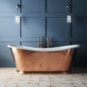 The Hammered Copper Wye cast iron bateau bath tub