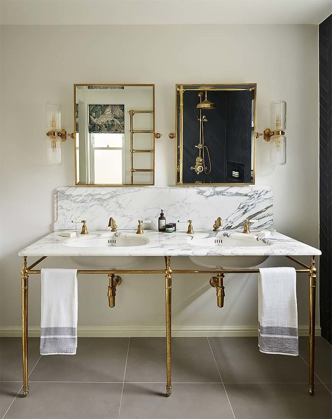 Double Lowther Vanity Basin in brass finish
