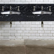 The Double Hebdern In Black Marquina Marble in nickel finish