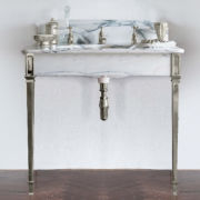 The Single Hebdern in White Arabescato Marble in nickel finish