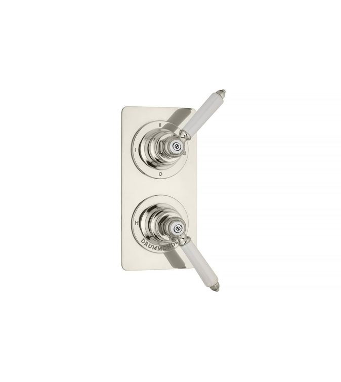 The Chessleton Wall Trim Plate 3 Way Diverter with china handles in nickel finish