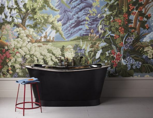 The Tyne bath with black exterior and nickel interior